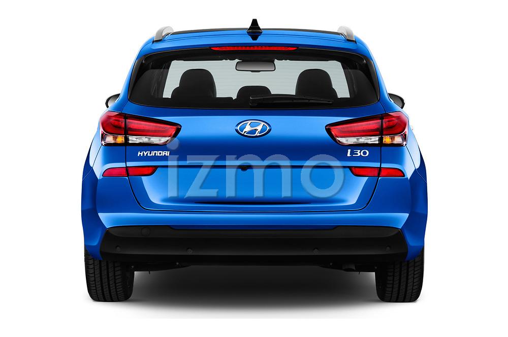 Straight rear view of a 2018 Hyundai i30 Sky 5 Door Wagon stock images