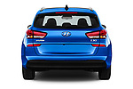 Straight rear view of a 2018 Hyundai i30 Sky 5 Door Wagon stock images