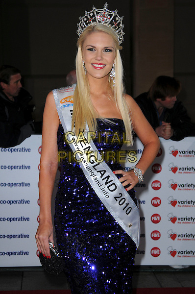 JESSICA LINLEY (Miss England) .The Co-operative Variety Club Showbiz Awards, Grosvenor House Hotel, Park Lane, London, England, UK, .14th November 2010. .half length dress sash crown beauty queen purple strapless sparkly sequined sequin dress .CAP/CAS.©Bob Cass/Capital Pictures.