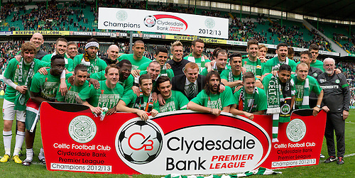 21.04.2013 Glasgow, Scotland.  Celtic players lineup to celebrate their title win after the Scottish Premier League game between Celtic and Inverness Caledonian Thistle from Celtic Park.