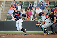 Landon Lassiter (2) of the Kannapolis Intimidators follows through on his swing against the Delmarva Shorebirds at Kannapolis Intimidators Stadium on June 25, 2016 in Kannapolis, North Carolina.  The Intimidators defeated the Shorebirds 2-1.  (Brian Westerholt/Four Seam Images)