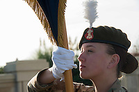 Pictured: A young cadet holds a flag during the service Friday 11 November 2016<br /> Re: Remembrance Day service at the Cenotaph in Swansea, south Wales, UK.