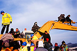 Twyford down road protest , the  first digger diving actions.M3 extension Winchester.