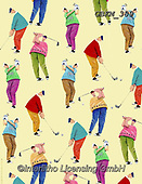 Kate, GIFT WRAPS, GESCHENKPAPIER, PAPEL DE REGALO, paintings+++++On the links wrap1,GBKM389,#gp#, EVERYDAY ,golf,