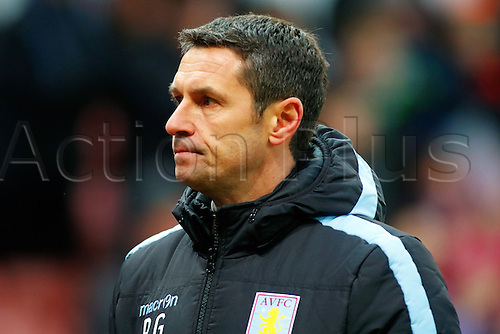 27.02.2016. Britannia Stadium, Stoke, England. Barclays Premier League. Stoke City versus Aston Villa. Aston Villa Manager Remi Garde looks dejected as he walks towards the tunnel after his side loses 2-1