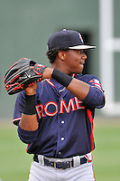 Center fielder Ronald Acuna (24) of the Rome Braves warms up before a game against the Greenville Drive on Thursday, September 1, 2016, at Fluor Field at the West End in Greenville, South Carolina. Rome won, 3-2. (Tom Priddy/Four Seam Images)