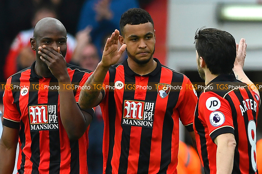 Joshua King of AFC Bournemouth (m) celebrates his second goal with Harry Arter and Benik Afobe  during AFC Bournemouth vs West Ham United, Premier League Football at the Vitality Stadium on 11th March 2017