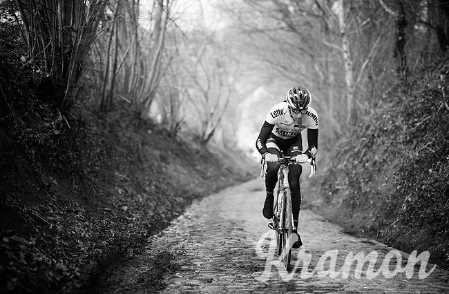 Sep Vanmarcke (BEL/LottoNL-Jumbo) up the infamous Koppenberg during the 2016 Ronde van Vlaanderen recon with Team LottoNL-Jumbo