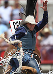 46 year old Billy Etbauer hangs on during the saddle bronc riding competition at Cheyenne Frontier Days on Sunday. Etbauer scored an 89 on the ride to claim the top prize in the saddle bronc competition.  Michael Smith/staff
