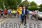 Mayor Of Tralee Jim Finucane with Parky Bear starts the Kerry Emergency Services 75km Cycle in aid of Alzeimhers and South West Counselling starting at the Tralee Town Park on Saturday