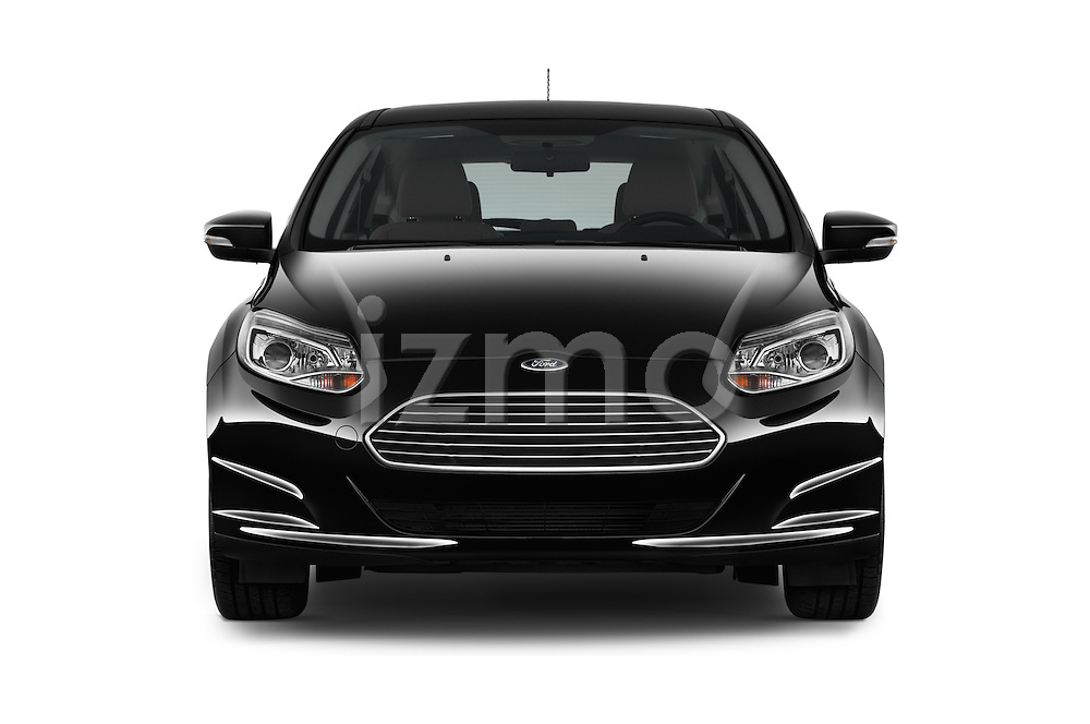 Car photography straight front view of a 2016 Ford Focus 5-Door-Hatch-Electric 5 Door Hatchback Front View