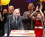 Anthony Warlow, Charles Strouse, Merwin Foard, Lilla Crawford & the cast from Broadway's iconic musical ANNIE celebrate creator Charles Strouse's 85th Birthday at The Palace Theatre in New York City on June 06, 2013.