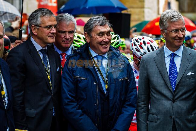 Eddy Merckx and King Phillipe of Belgium, Tour de France, Stage 5: Ypres > Arenberg Porte du Hainaut, UCI WorldTour, 2.UWT, Wallers, France, 9th July 2014, Photo by Thomas van Bracht / Peloton Photos