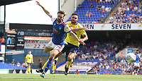 Blackburn Rovers' Derrick Williams and Ipswich Town's Gwion Edwards <br /> <br /> Photographer Rachel Holborn/CameraSport<br /> <br /> The EFL Sky Bet Championship - Ipswich Town v Blackburn Rovers - Saturday 4th August 2018 - Portman Road - Ipswich<br /> <br /> World Copyright &copy; 2018 CameraSport. All rights reserved. 43 Linden Ave. Countesthorpe. Leicester. England. LE8 5PG - Tel: +44 (0) 116 277 4147 - admin@camerasport.com - www.camerasport.com