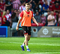 Lincoln City's Michael O'Connor during the pre-match warm-up<br /> <br /> Photographer Andrew Vaughan/CameraSport<br /> <br /> The EFL Sky Bet League Two - Lincoln City v Tranmere Rovers - Monday 22nd April 2019 - Sincil Bank - Lincoln<br /> <br /> World Copyright © 2019 CameraSport. All rights reserved. 43 Linden Ave. Countesthorpe. Leicester. England. LE8 5PG - Tel: +44 (0) 116 277 4147 - admin@camerasport.com - www.camerasport.com