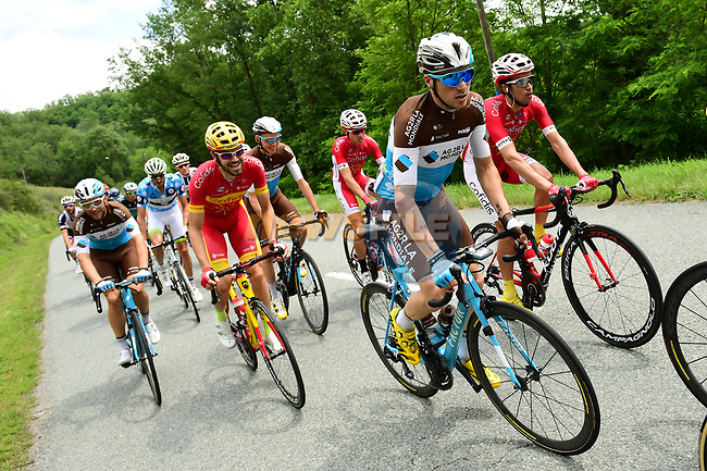 The peleton including   Alexis Gougeard (FRA) AG2R La Mondiale and Spanish National Champion Jesús Herrada (ESP) Cofidis in action during Stage 2 of the 2018 Criterium du Dauphine 2018 running 181km from Montbrison to Belleville, France. 5th June 2018.<br /> Picture: ASO/Alex Broadway | Cyclefile<br /> <br /> <br /> All photos usage must carry mandatory copyright credit (© Cyclefile | ASO/Alex Broadway)
