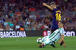 League Santander 2017/2018. Game: 01.<br /> FC Barcelona vs Real Betis: 2-0.<br /> Camarasa vs Gerard Deulofeu.