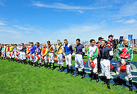 Jockeys line up before the Cup<br /> VRC Spring Racing Carnival <br /> 155th Melbourne Cup / Race 7<br /> Flemington Racecourse / Melbourne <br /> Australia  Tuesday3rd November 2015<br /> &copy; Sport the library / Courtney Crow