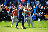Sergio Garcia (Team Europe) and Rory McIlroy (Team Europe) on the 17th during the Saturday Fourballs at the Ryder Cup, Le Golf National, Paris, France. 29/09/2018.<br /> Picture Phil Inglis / Golffile.ie<br /> <br /> All photo usage must carry mandatory copyright credit (&copy; Golffile | Phil Inglis)