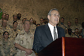 United States Secretary of Defense Donald H. Rumsfeld speaks to the troops at a town hall meeting at Central Command Forward headquarters in Qatar, on April 27, 2003. Rumsfeld, accompanied by U.S. Army General Tommy Franks, commander of U.S. Central Command, is visiting the troops and senior leadership in the Persian Gulf region. <br /> Mandatory Credit: Helene Stikkel / DoD via CNP