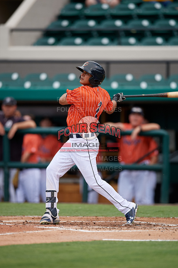 Lakeland Flying Tigers shortstop David Gonzalez (1) follows through on a swing during the second game of a doubleheader against the St. Lucie Mets on June 10, 2017 at Joker Marchant Stadium in Lakeland, Florida.  Lakeland defeated St. Lucie 9-1.  (Mike Janes/Four Seam Images)