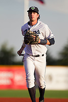 Dansby Swanson (7) of the Hillsboro Hops during a game against the Tri-City Dust Devils at Ron Tonkin Field in Hillsboro, Oregon on August 24, 2015.  Tri-City defeated Hillsboro 5-1. (Ronnie Allen/Four Seam Images)