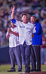 4 April 2015: Former Toronto Blue Jays second baseman and Hall of Famer Roberto Alomar is introduced to the fans prior to an exhibition game against the Cincinnati Reds at Olympic Stadium in Montreal, Quebec, Canada. The Blue Jays defeated the Reds 9-1 in the second of two MLB weekend exhibition games. Mandatory Credit: Ed Wolfstein Photo *** RAW (NEF) Image File Available ***