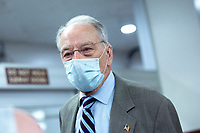 United States Senator Chuck Grassley (Republican of Iowa) speaks to members of the media in the Senate Subway on Capitol Hill in Washington D.C., U.S., on Wednesday, June 10, 2020.  Credit: Stefani Reynolds / CNP/AdMedia