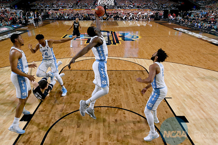GLENDALE, AZ - APRIL 03:  Theo Pinson #1 of the North Carolina Tar Heels reaches for a defensive rebound against the Gonzaga Bulldogs during the 2017 NCAA Men's Final Four National Championship game at University of Phoenix Stadium on April 3, 2017 in Glendale, Arizona.  (Photo by Chris Steppig/NCAA Photos via Getty Images)
