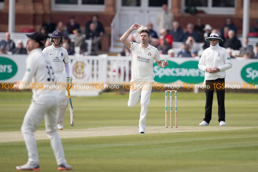 James Anderson of Lancashire CCC beats the outside edge during Middlesex CCC vs Lancashire CCC, Specsavers County Championship Division 2 Cricket at Lord's Cricket Ground on 11th April 2019