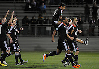 DC United midfielder Andy Najar celebrates the victory at the end of the match.  DC United defeated The Philadelphia Union in penalty kicks 4-2 at TheLamar Hunt U.S. Open Cup match, at Maryland SoccerPlex, Wednesday April 6, 2011.