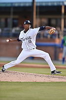 Asheville Tourists starting pitcher Carlos Polanco (18) delivers a pitch during a game against the Lexington Legends on May 1, 2015 in Asheville, North Carolina. The Tourists defeated the Legends 4-1. (Tony Farlow/Four Seam Images)
