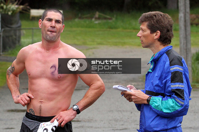 Brent Stebbings is interviewed by Greg L. Half Marathon &amp; Road Relay, Rabbit Island, SI Masters Games, 22 October 2011, Nelson, New Zealand<br /> Photo: Marc Palmano/shuttersport.co.nz