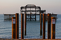 The dilapidated West Pier in Brighton beach, England UK. Saturday 24 February 2018
