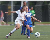 Sky Blue FC midfielder Katy Freels (Frierson) (17) and Boston Breakers midfielder Joanna Lohman (11) battle for the ball.  In a National Women's Soccer League (NWSL) match, Boston Breakers (blue) defeated Sky Blue FC (white), 3-2, at Dilboy Stadium on June 30, 2013.