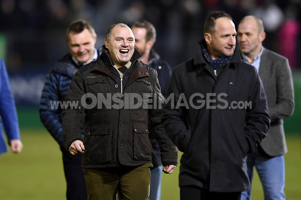 Members of the 1998 Heineken Cup winning Bath Rugby team at half-time. European Rugby Champions Cup match, between Bath Rugby and the Scarlets on January 12, 2018 at the Recreation Ground in Bath, England. Photo by: Patrick Khachfe / Onside Images