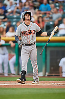 Colin Walsh (1) of the Fresno Grizzlies bats against the Salt Lake Bees at Smith's Ballpark on September 3, 2017 in Salt Lake City, Utah. The Bees defeated the Grizzlies 10-8. (Stephen Smith/Four Seam Images)