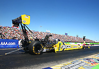 Sept. 21, 2013; Ennis, TX, USA: NHRA top fuel dragster driver Morgan Lucas during qualifying for the Fall Nationals at the Texas Motorplex. Mandatory Credit: Mark J. Rebilas-