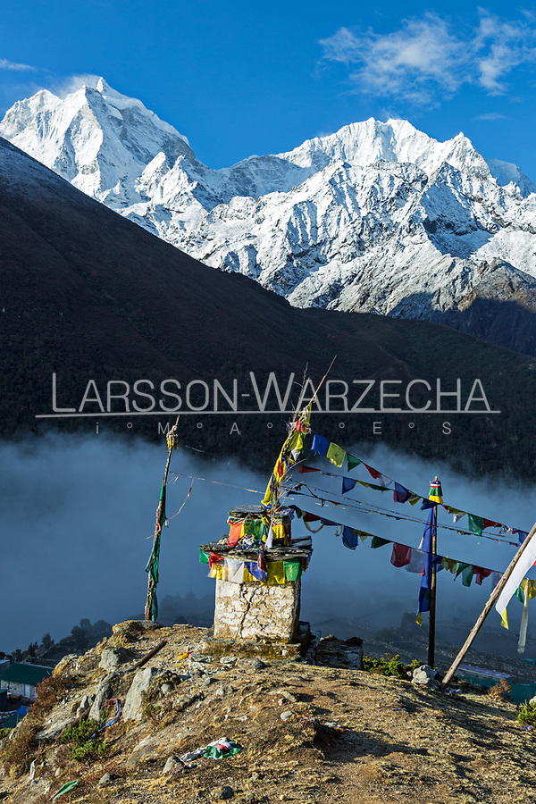 Stupa above Panghboche village with Mount Thamserku in the background, Khumbu, Nepal