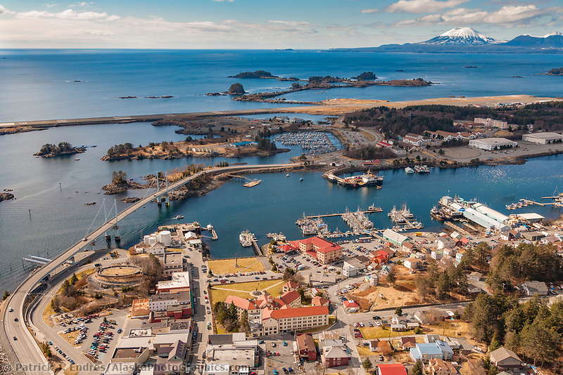 Aerial of downtown Sitka, overlooking Sitka Sound and the O'Connell bridge that joins Baranof Island with Japonski island, Southeast, Alaska.