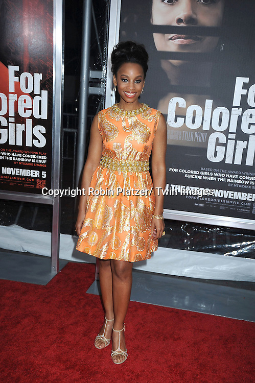 "Anika Noni Rose attending The New York Special Screening.of ""For Colored Girls"" at The Ziegfeld Theatre on October 25, 2010 in New York City"