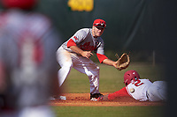Illinois State Redbirds second baseman Joe Kelch (3) waits for a throw as Jalen Washington (2) slides into second base during a game against the Ohio State Buckeyes on March 5, 2016 at North Charlotte Regional Park in Port Charlotte, Florida.  Illinois State defeated Ohio State 5-4.  (Mike Janes/Four Seam Images)