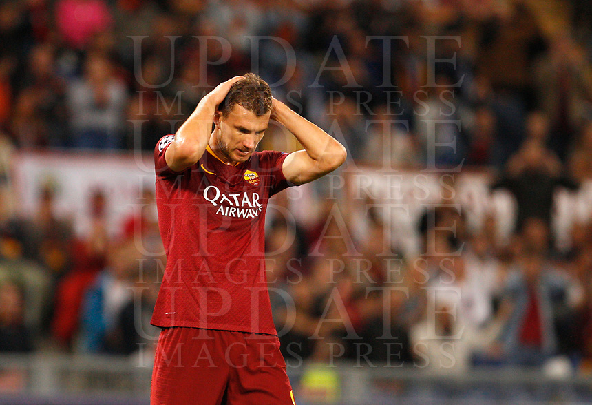Roma's Edin Dzeko reacts during the Champions League football match between Roma and Viktoria Plzen at Rome's Olympic stadium, October 2, 2018.<br /> UPDATE IMAGES PRESS/Riccardo De Luca