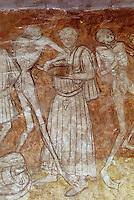 Europe/France/Auvergne/43/Haute-Loire/Parc Naturel Régional du Livradois-Forez/La Chaise Dieu: L'église abbatiale de Saint-Robert ([architecture] gothique) - Détail peinture murale représentant la Danse macabre
