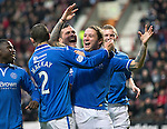 Hearts v St Johnstone....02.11.13     SPFL<br /> Stevie May celebrates his goal<br /> Picture by Graeme Hart.<br /> Copyright Perthshire Picture Agency<br /> Tel: 01738 623350  Mobile: 07990 594431