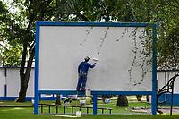 TOGO, Lome, port, seamen´s club of german seamen´s mission, screen for open air cinema / Seemannsclub der deutschen Seemannsmission