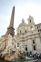 La chiesa di Sant'Agnese in Agone e, sulla sinistra, la Fontana dei Quattro Fiumi, in Piazza Navona, a Roma.<br /> The church of Sant'Agnese in Agone and the Fountain of the Four Rivers, at left, in Piazza Navona, Rome.<br /> UPDATE IMAGES PRESS/Riccardo De Luca