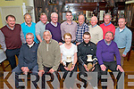 Bottom L-R Connie Daly (captain), Tadhg Galvin (treasurer), Noeleen Mackessy (winner of the 2 man scramble tournament), Dan Murphy (winner of the 2 man scramble tournament) and Pat O'Donoghue (president of the club), Top L-R Tom Cronin, Tim Lynch, John Daly, Sean Mackessy, Kieran O'Brien, Pat Moynihan, Donal O'Railly, Billy Moynihan and Dereek Moynihan at the Old Killarney Inn Golf Society Prize giving in the Old Killarney Inn last Saturday night.