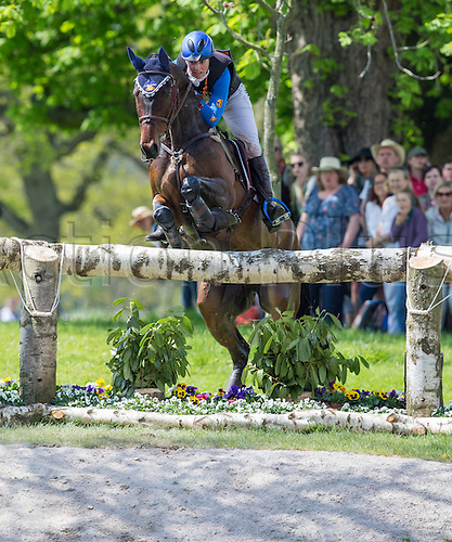 07.05.2016. Badminton House, Badminton, England. Mitsubishi Motors Badminton Horse Trials. Day Four. Alice Naber-Lozeman (NED) riding 'Harry Belafonte' during the cross country element of The Mitsubishi Motors Badminton Horse Trials.