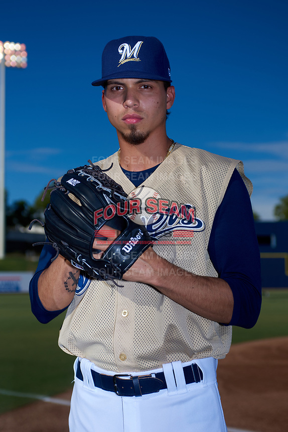 AZL Brewers Gold Luis Gonzalez (23) poses for a photo before an Arizona League game against the AZL Brewers Blue on July 13, 2019 at American Family Fields of Phoenix in Phoenix, Arizona. The AZL Brewers Blue defeated the AZL Brewers Gold 6-0. (Zachary Lucy/Four Seam Images)